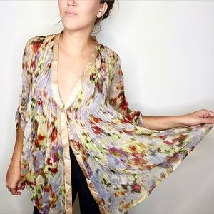 elizabeth and james / sheer floral blouse pleated